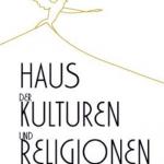 Logo des Vereins Haus der Kulturen und Religionen München. Oben ist ein Hausdach und eine Friedenstaube zu sehen.